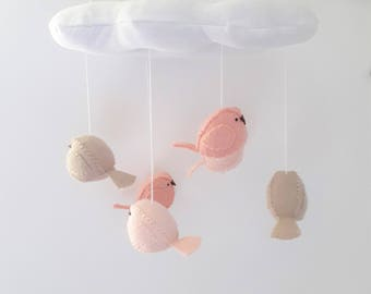 Nursery decor - cloud and bird baby mobile - blush nursery