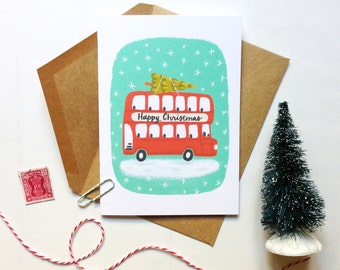 Happy Christmas London Double Decker Card