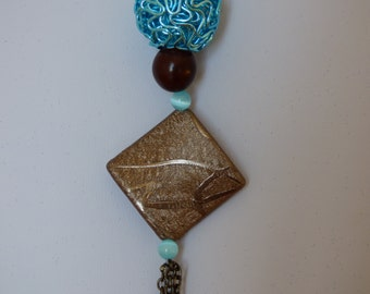 Inca necklace turquoise and brown - Made in FRANCE