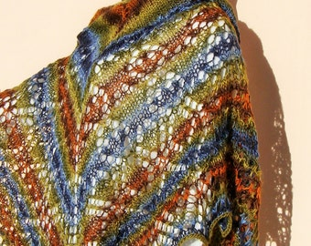 SET of hand knitted  shawl and beanie, colored  big triangle shawl, lace shawl,colored  lace wrap and beanie