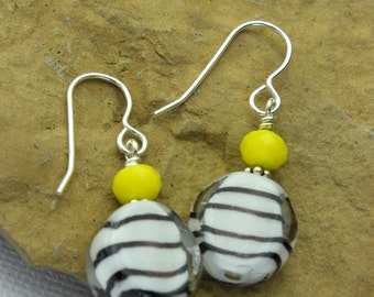 Glass beads & sterling silver handcrafted earrings