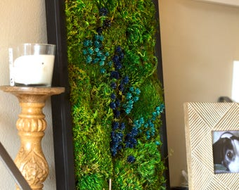 "Moss Wall Art ~ Moss Art Work ~ REAL Preserved Moss ~ No Maintenance Required Eco Natural Green Wall Art ~ 13""x17"" or 21x17"" ~ ""River"""