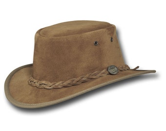 Barmah Hats 1094HI Narrow Brim Pig Suede Leather Hat in Hickory