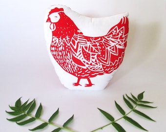 Chicken Shaped Farm Animal Pillow.  Hand Woodblock Printed. Pick Any Colors. Made to order.