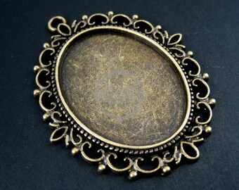 10pcs 30x40mm setting victorian oval bezels tray base vintage bronze pendant charm 1421038