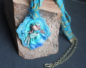 Necklace polymer clay Mermaid and her bangs silk sari recycled