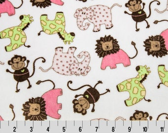 MINKY fabric printed synthetic velvet SAFARI green and pink x25cm