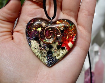 Orgonite® - Orgonite® Pendant - Heart - Necklace - Handmade - Orgone Generator® - Crystals - Gift - EMF Protection - HoodXHippie