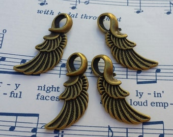 Feather Wing Charms - 4 pc. - 32mm long - Angel Wing Charms - Cadmium Free - Lead Free Charms - Antiqued Bronze Wings - Bronze Wing Charms