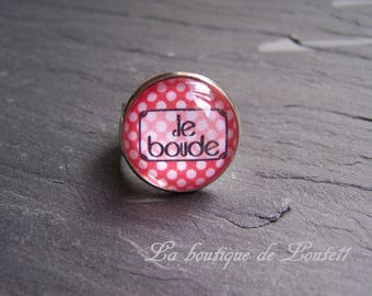Silver ring ° I pout (red) polka dot 20mm
