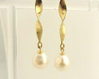Pearl Wind Spinner Drop Earrings- 14k Yellow Gold