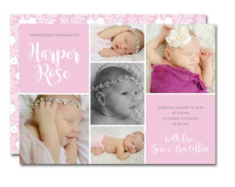 Fun affordable invitations party printables by paperieoffpark birthbaby 5x7 announcement with photo collage diva debut boho floral printable negle Images