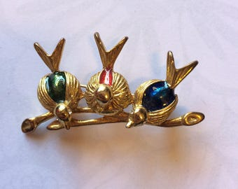 Vintage 60s Gold Tone Enamel Spring Time Three Birds Brooch Pin