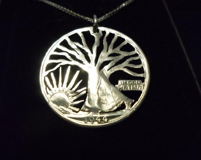 "Walking Tree half dollar w/20"" sterling silver chain"