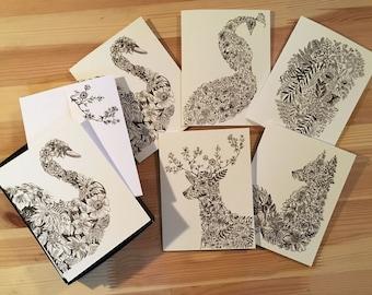 Botanical Animal 10 Card Stationery Set