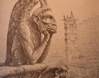 Gargoyle John Taylor Arms Notre Dame - Beautiful art print - gift for artists art lovers  - great gift framable 8 by 10 inch Guardian