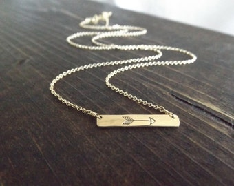 Small Gold Arrow Bar Necklace // Cable Chain