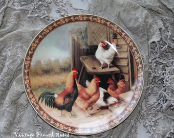 """French Country Rooster Plate Hen Chicks Spring Easter French Kitchen Decor 8"""" Porcelain Plate Romantic Shabby Country Cottage Farmhouse"""