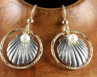 Beautiful sterling silver sea shell earrings with 14K gold filled textured rings and freshwater pearls. Free spirit, beach, mixed metals.