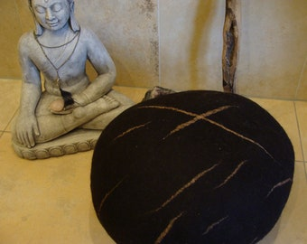 Yoga Pillow/meditation pillow from dark brown Mountain wool processing workshop
