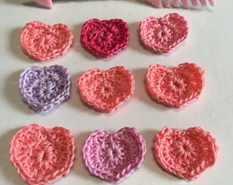 Crochet Hearts, Romantic Lacy Crochet Hearts, Bright Pink, Valentine Crochet Hearts