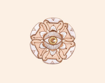 White Floral Evil Eye Embroidered Patch