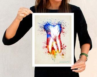 "Watercolor Tooth, 11"" x 14"" Fine Art Print, Dental print, Dental Hygenist Gift, Dentist Office Decor, Watercolor Splatter art, Tooth Art"