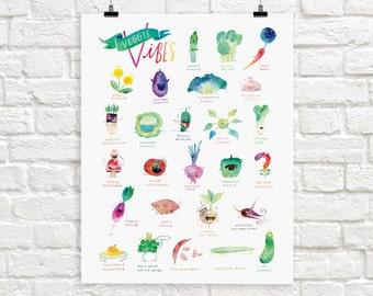 Vegetable Alphabet Giclée Print | ABC Veggie Vibes Poster | Kitchen Wall Art | Children's Illustration | Kid's Room Decor