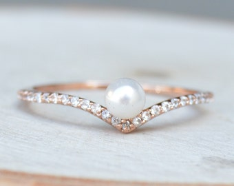 V Chevron Ring with Pearls, Stacking Ring - Rose Gold