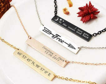 Personalized Bar Necklace, Custom Bar Necklace, Initial Necklace, Custom Name Plate, Custom Quote, Name Bar Necklace, Custom Jewelry Gift