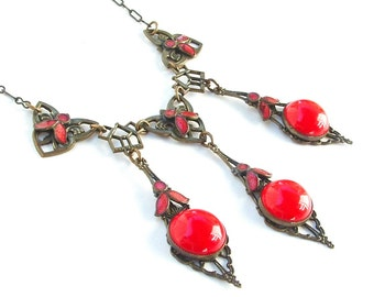 Antique Jewelry Victorian Necklace, Enamel Jewelry Lipstick Red Faceted Glass Stone Necklace Metal Lace