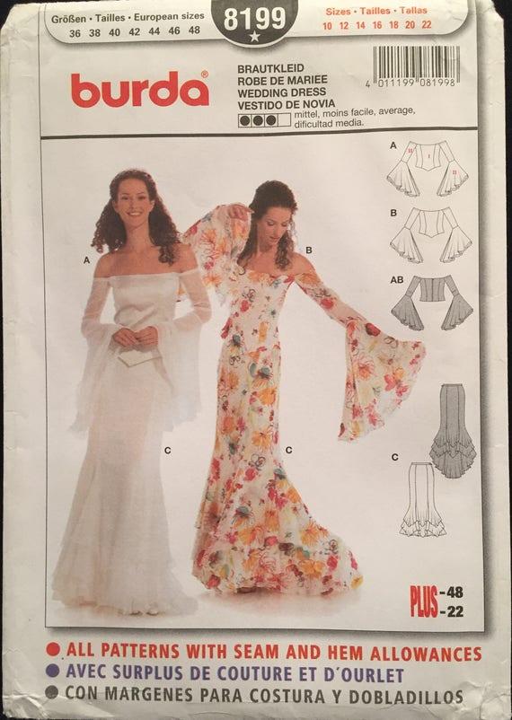 Burda Wedding/Evening Gown Off Shoulder Corset Top w Trumpet Sleeves ...
