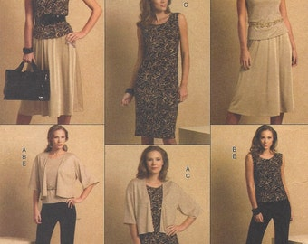 Plus Size Womens Stretch Knit Jacket, Top, Dress, Skirt & Pants OOP Butterick Sewing Pattern B5190 Size 16 18 20 22 24 Bust 38 to 46 UnCut