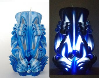 Carved candle with led Gift for her Decorative candle Carved candles Unique candle Blue candle Gift idea Home decor