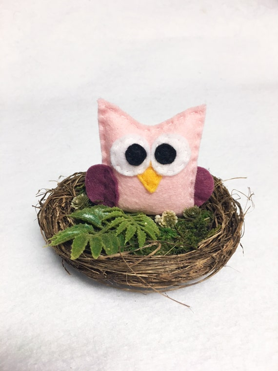 Owl Nest, Summer Decoration, Mantle Decoration, Wedding Table Centerpiece, Woodland Decoration, Pink Baby Owl, Shabby Chic, Baby Shower