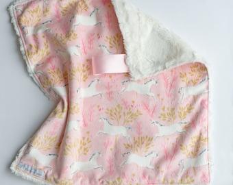 Baby girl lovey, unicorn lovey blanket, minky lovey, faux fur, lovey blanket, minky blanket, unicorn lovey, security blanket