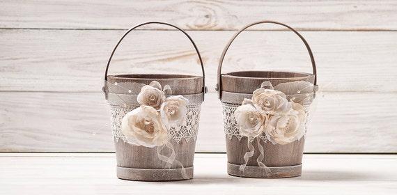 ZWEI Blumenmädchen Korb Elfenbein Blumenmädchen Hochzeit Korb