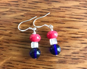 4th of July earrings Independence Day earrings Red earrings Blue earrings Dangle earrings USA