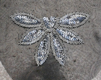 Silver Beaded Sequined Flowers