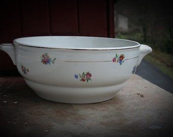 Large French Vintage Serving Bowl with Flowers