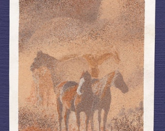 Natural sand painting 24x18 cm Horses