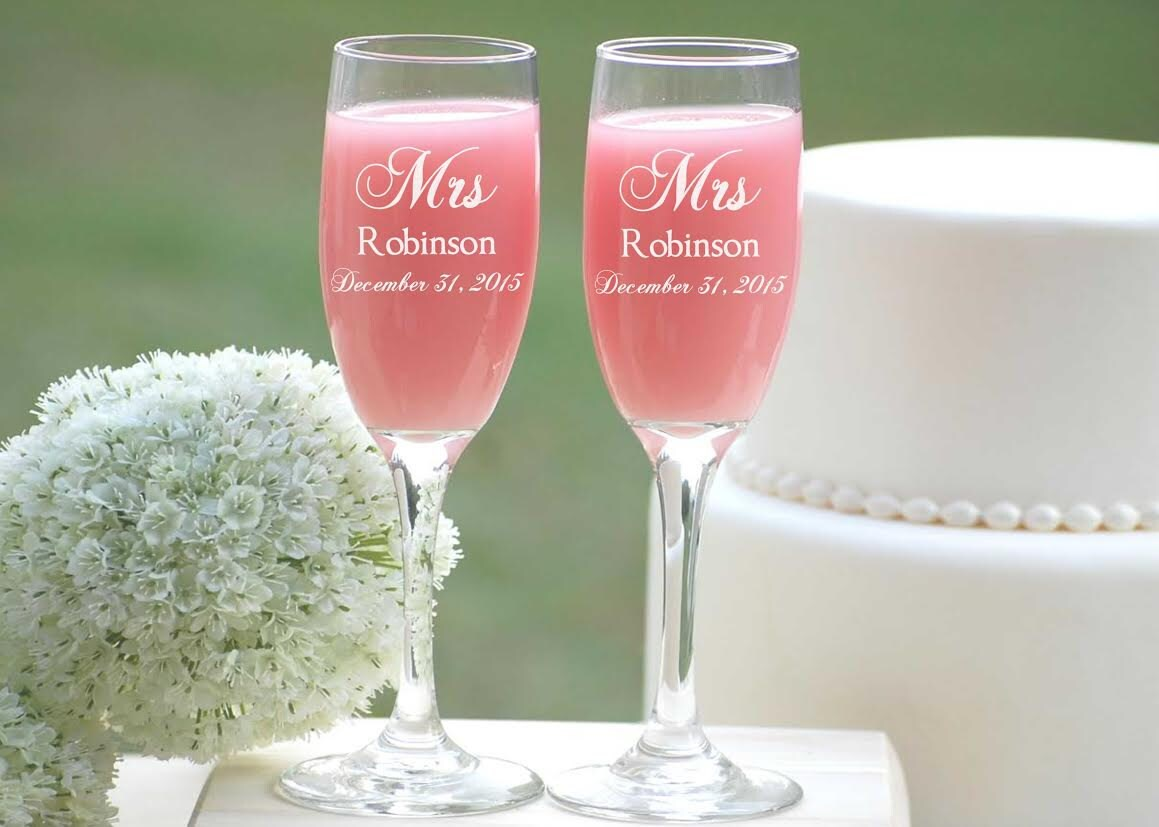 Mr and Mrs Champagne Flutes Personalized Wedding Gift Bride