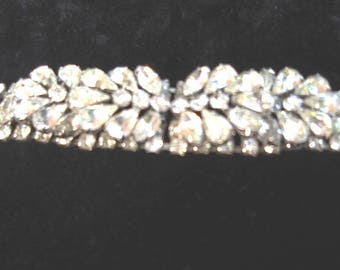 """1960s WEISS Rhinestone Braclet Elaborate Pear Stone Center Group on 1""""  stone band  Item #744  Jewelry"""