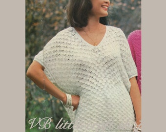 Lady's poncho style pullover knitting pattern. Instant PDF download!