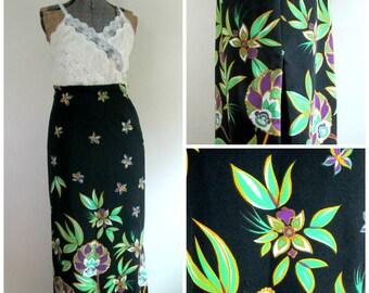 1970s Mod Maxi Skirt With Slit // Black Neon Floral Long Straight Skirt