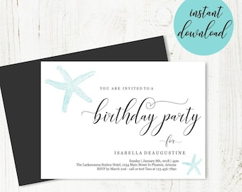 Beach Birthday Party Invitation Template, Printable Beach Theme Invite, Unique Simple Starfish, Instant Download Digital File DIY PDF 5x7
