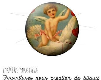 2 cabochons craft Angel Dove ref 1453 glass 20 mm-