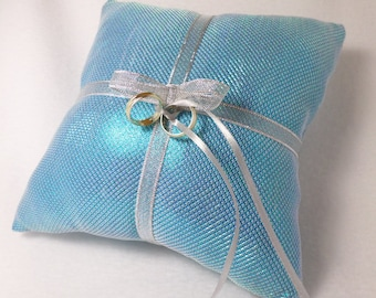 Teal Holographic and Silver Ring Bearer Pillow Chainmail look
