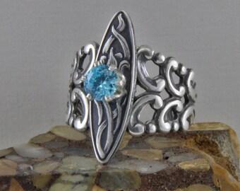 Silver Plated  Brass Filigree Fashion Ring Adjustable  Aquamarine CZ