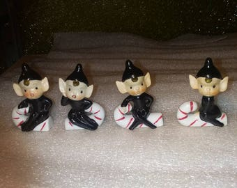 Vintage Hand Painted Set of 4 Christmas Pixie Elves on Candy Canes